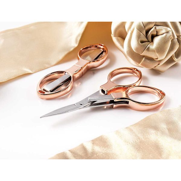 Rose Gold Folding Scissors, 10 cm/3.9""