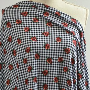 Double Brushed Poly Spandex, Roses on Gingham - 1/2 meter