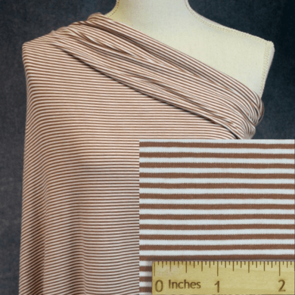 Bamboo Organic Cotton Jersey 2mm Stripes, RUST/White - 1/2 meter