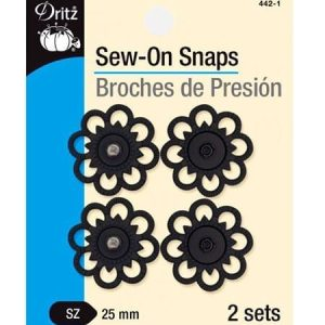 Sew-On Snaps Black, 2 Sets per Package
