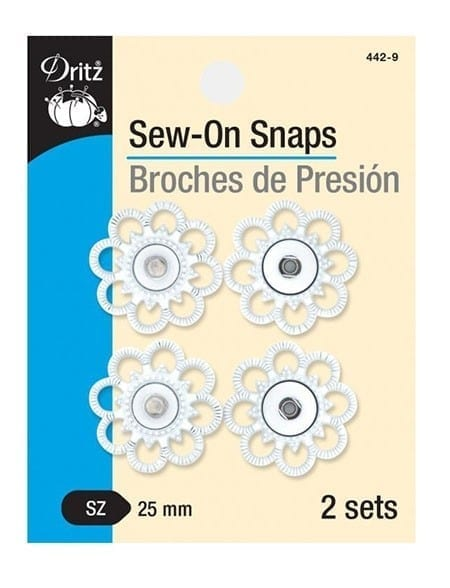 Sew-On Snaps White, 2 Sets per Package