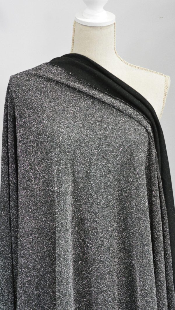 Lurex Knit Fabric, Silver/BLACK - 1/2 meter