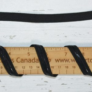 "Silicone Backed Elastic, 1/2"" Black - 1 meter"