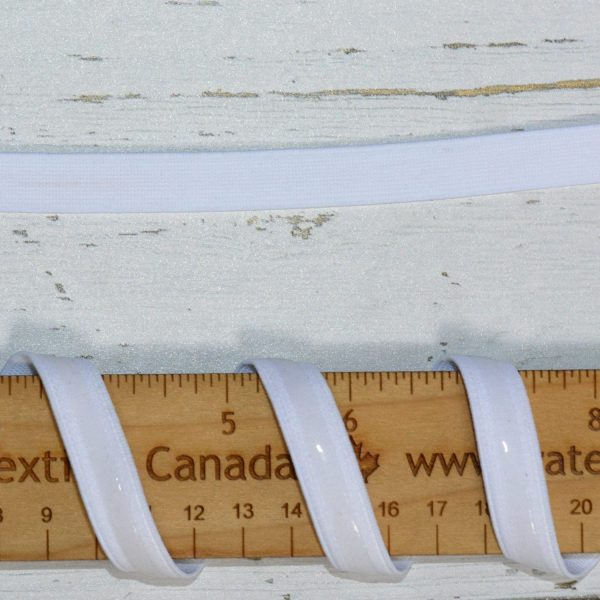 """Silicone Backed Elastic, 1/2"""" White - 1 meter"""