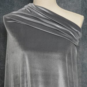 Stretch Velvet, Grey - 1/2 meter