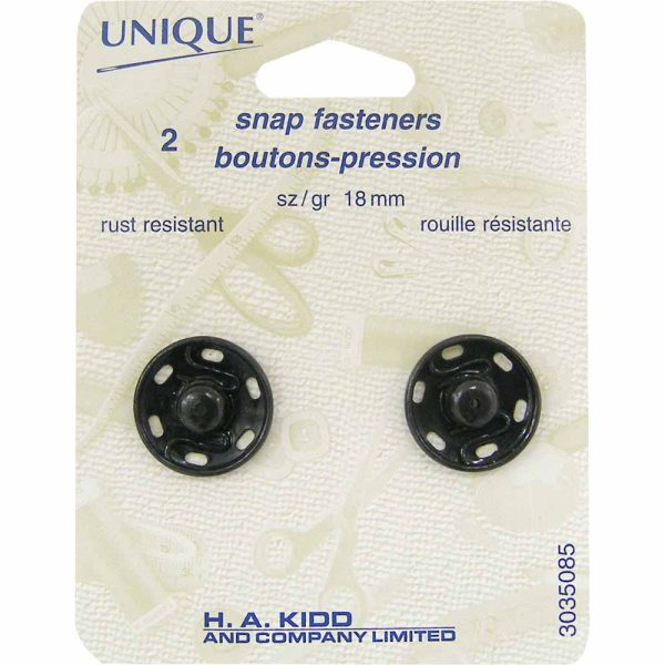 Snap Fasteners, 18 mm BLACK, 2 Set Package