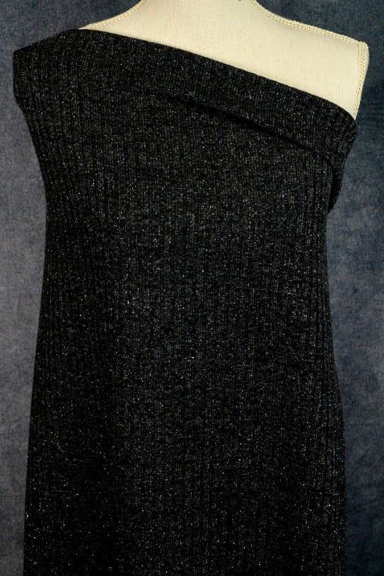 Sparkly Ribbed Sweater Knit, Black - 1/2 meter