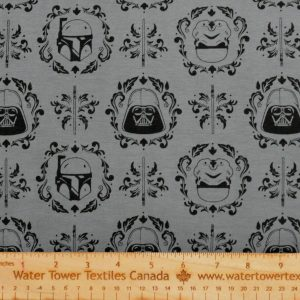 Cotton Spandex, Star Wars on DARK GREY (Limited) - 1/2 meter