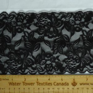 "Stretch Lace Trim, 5.25"" Black - 1 meter"