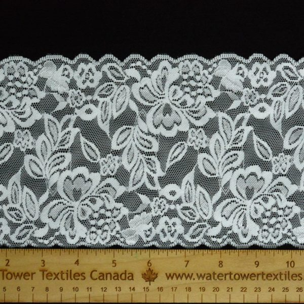 "Stretch Lace Trim, 5.25"" White - 1 Meter"
