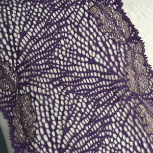 "Stretch Lace Trim, 6.25"" Gold on Raisin - 1 meter"