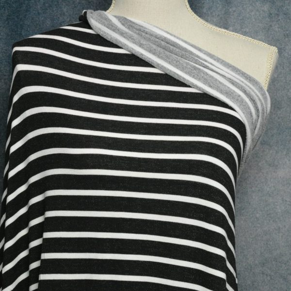 Brushed French Terry, Ivory Stripes on BLACK - 1/2 meter