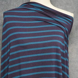 Bamboo Cotton Jersey Medium Stripes, Everglade on Plum - 1/2 meter