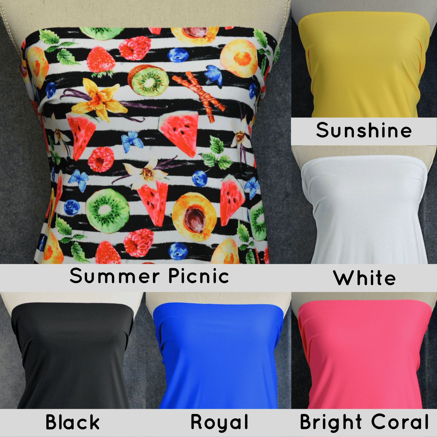 Nylon Spandex Swim Knit, Summer Picnic- 1/2 meter