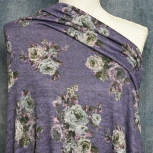 Hacci Brushed Sweater Knit, Floral on Violet - 1/2 meter
