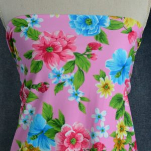 Nylon Spandex Swim Knit, Bright Floral on Pink - 1/2 meter