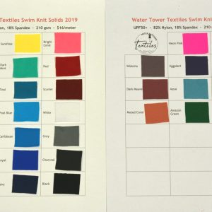 Swatch Card, Swim Knit Solids UPF50+