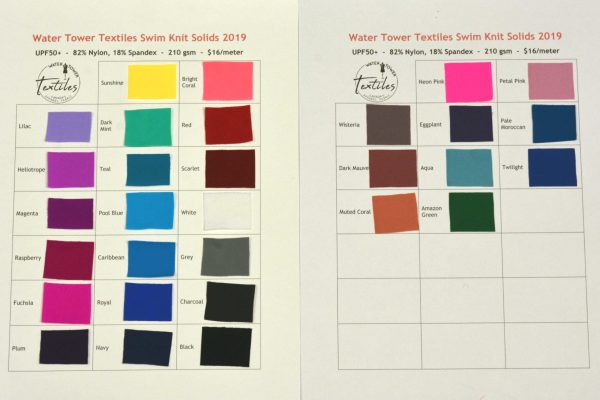Swatch Card, Swim Knit Solids UPF50+ LETTERMAIL