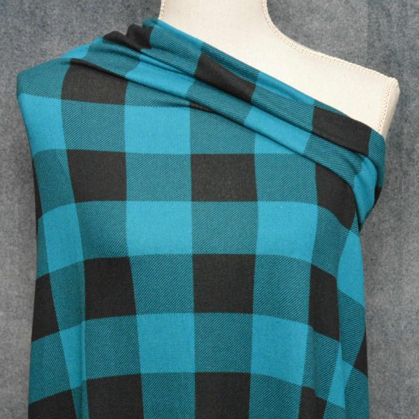 Brushed Sweater Knit, Teal Buffalo Plaid - 1/2 meter