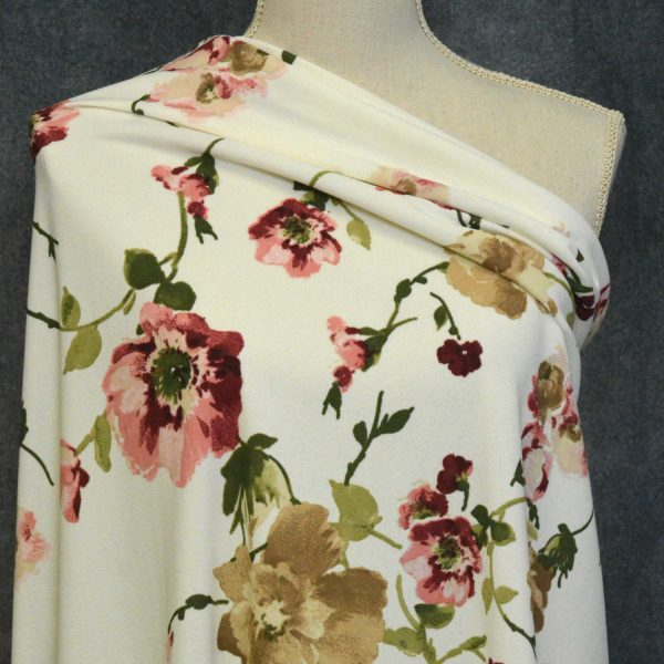 Techno Crepe Knit, Mauve/Tan Poppies on Ivory - 1/2 meter