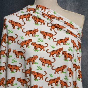 Organic Cotton Spandex, Tigers - 1/2 meter