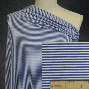 Bamboo Organic Cotton Jersey 2mm Stripes, TWILIGHT/White - 1/2 meter