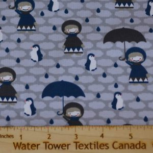 Cotton Spandex, Umbrellas & Penguins, Grey - 1/2 meter
