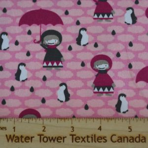 Cotton Spandex, Umbrellas & Penguins Pink - 1/2 meter