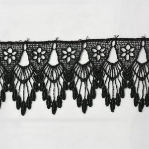 "Venice Lace Trim, 2.5"" Black - 1 meter"