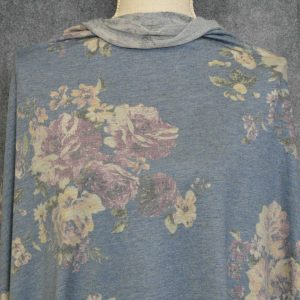 French Terry Vintage Banbury, Roses on DENIM - 1/2 meter