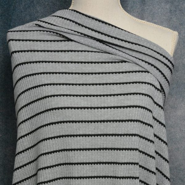 Waffle Knit, Black Stripe on Heather Grey - 1/2 meter