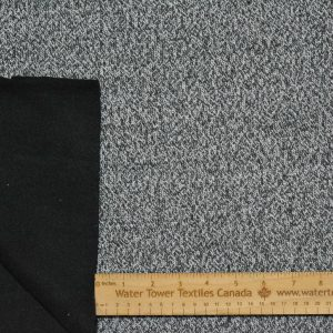 Wool Blend Soft Shell, White/Black Mix- 1/2 meter