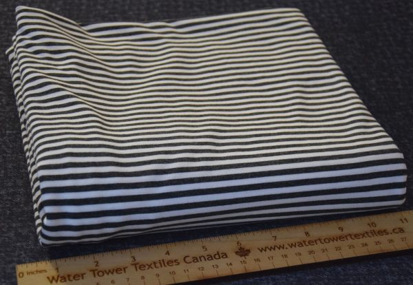 Bamboo Cotton Jersey 4mm Stripes, Charcoal/Ivory - 1/2 meter