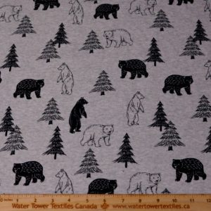 Doodles Cotton Spandex Interlock, Trees & Bears on Heather Grey (LIMITED) - 1/2 meter