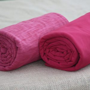 Fleece-Back Polyester Spandex, Heather Raspberry - 1/2 meter