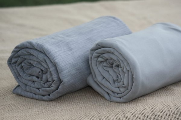 Fleece-Back Polyester Spandex, Heather Light Grey - 1/2 meter