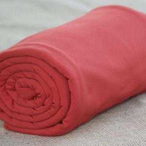 Fleece-Back Polyester Spandex, Red - 1/2 meter