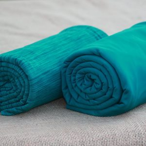 Fleece-Back Polyester Spandex, Heather Teal - 1/2 meter