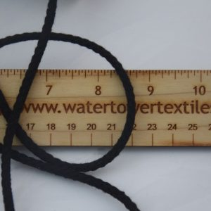 "Drawcord, 1/4"" Cotton, Black - 1 meter"