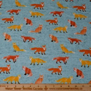 Doodles Cotton Spandex Interlock, Foxes on Heather Teal (LIMITED) - 1/2 meter