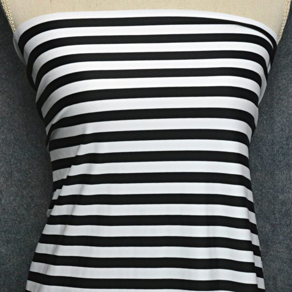 "Nylon Spandex Swim Knit, 1/2"" Black and White Stripe - 1/2 meter"