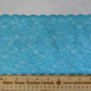 "Stretch Lace Trim, 6"" Aquamarine - 1 meter"