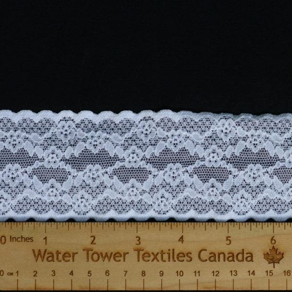 "Stretch Lace Trim, 2.25"" White - 1 Meter"