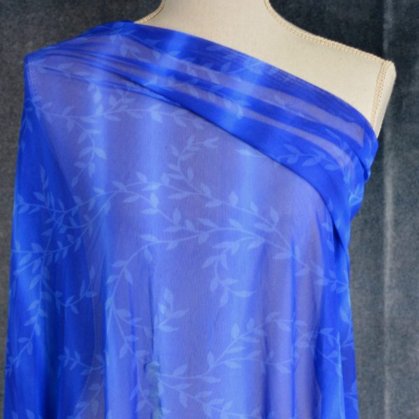 Stretch Mesh, Trailing Leaves on Royal Blue - 1/2 meter