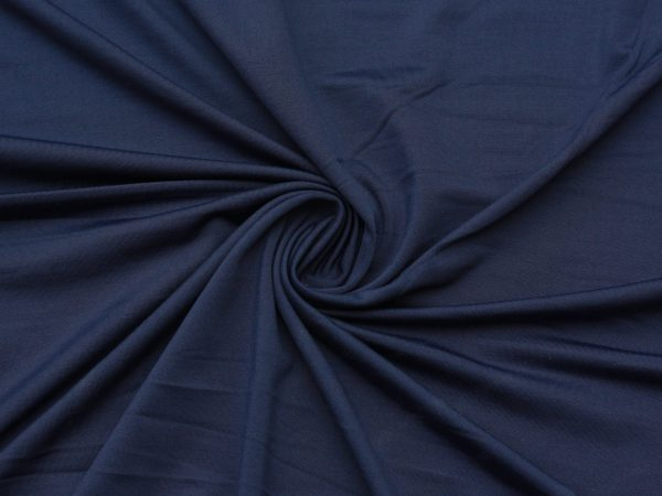 Fleece-Back Polyester Spandex, Heather Navy - 1/2 meter