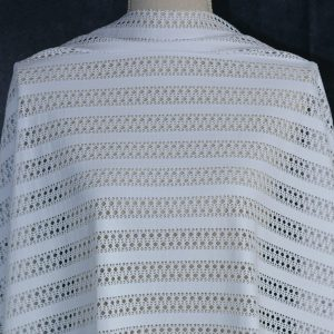 Lacey Cut-Out White Stripes - 1/2 meter