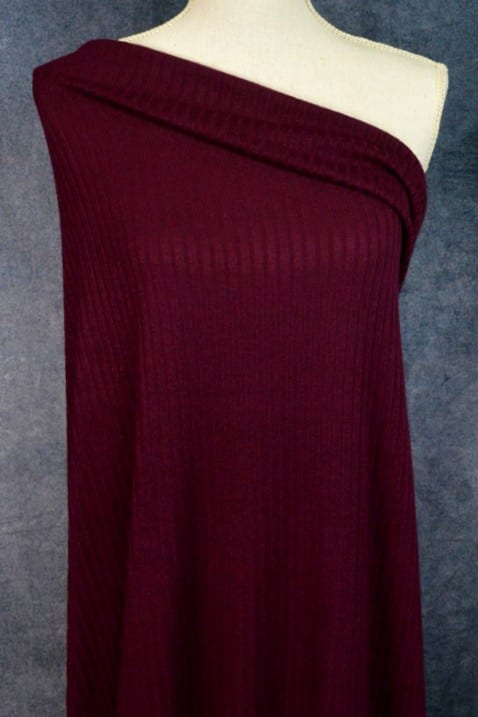 Ribbed Sweater Knit, Merlot - 1/2 meter