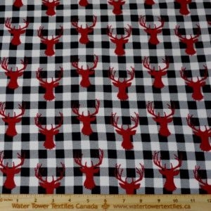 Doodles Cotton Spandex Interlock, Red Deer Head on Buffalo Plaid (LIMITED) - 1/2 meter