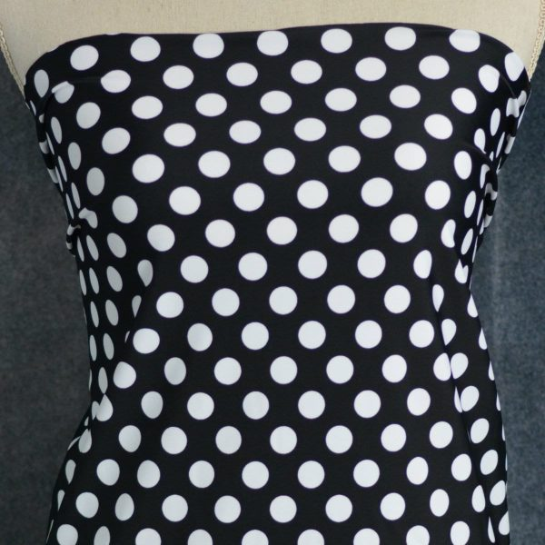 Nylon Spandex Swim Knit, DOTS on Black - 1/2 meter