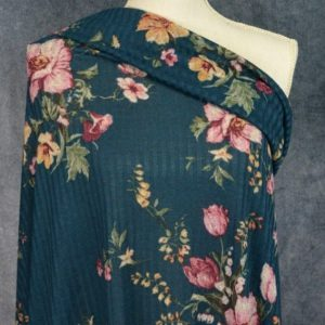 Ribbed Sweater Knit, Floral on Dark Teal - 1/2 meter